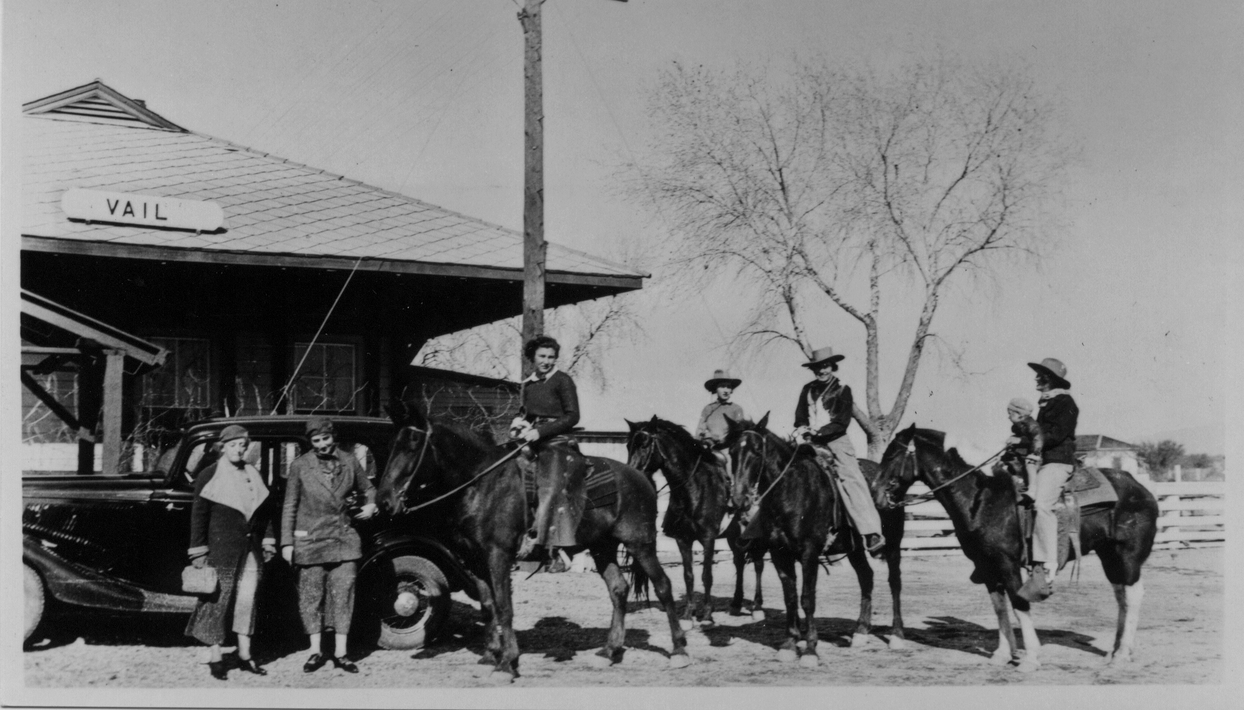 Women on horseback in front of the Vail Depot Circa 1935.