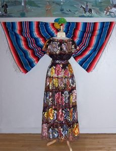 A traditional dress on display in the Mexican Cultural Exhibit.