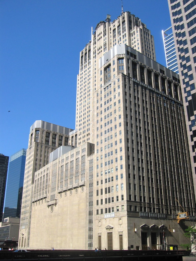 West facade of the Civic Opera House in Chicago