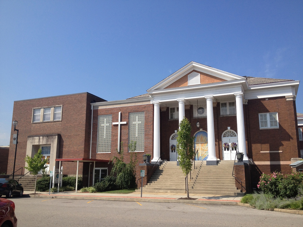 First Baptist Church is one of downtown South Charleston's most distinctive landmarks. Photo courtesy of Farm9 Flickr account.