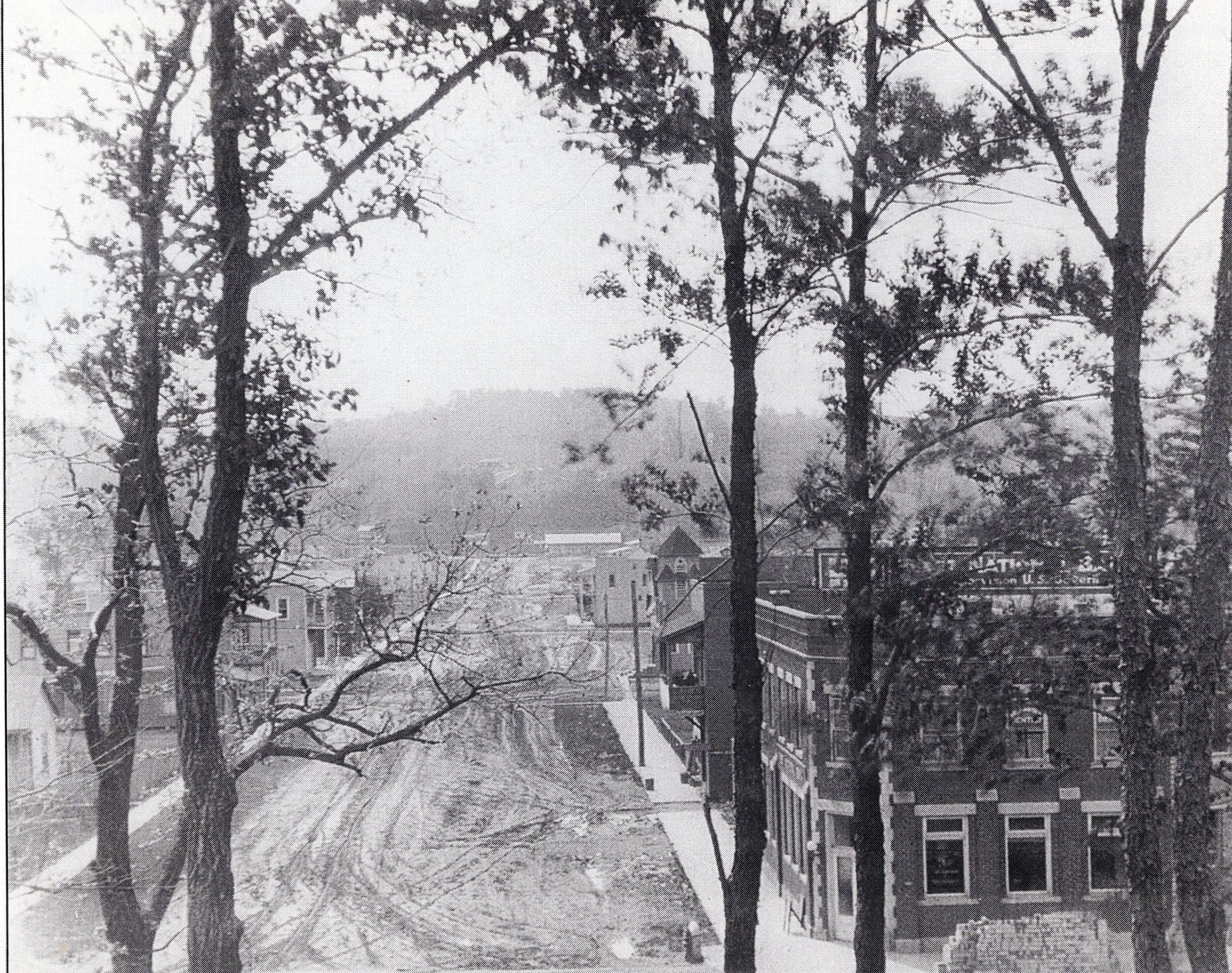 View from the top of the Criel Mound looking southward along unpaved D Street, circa 1920. The Baptist Church would soon be built on the right hand side about two blocks away.