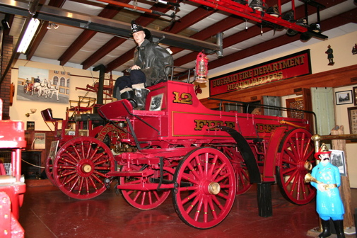 The museum features this antique fire engine and numerous other firefighting-related items on display.