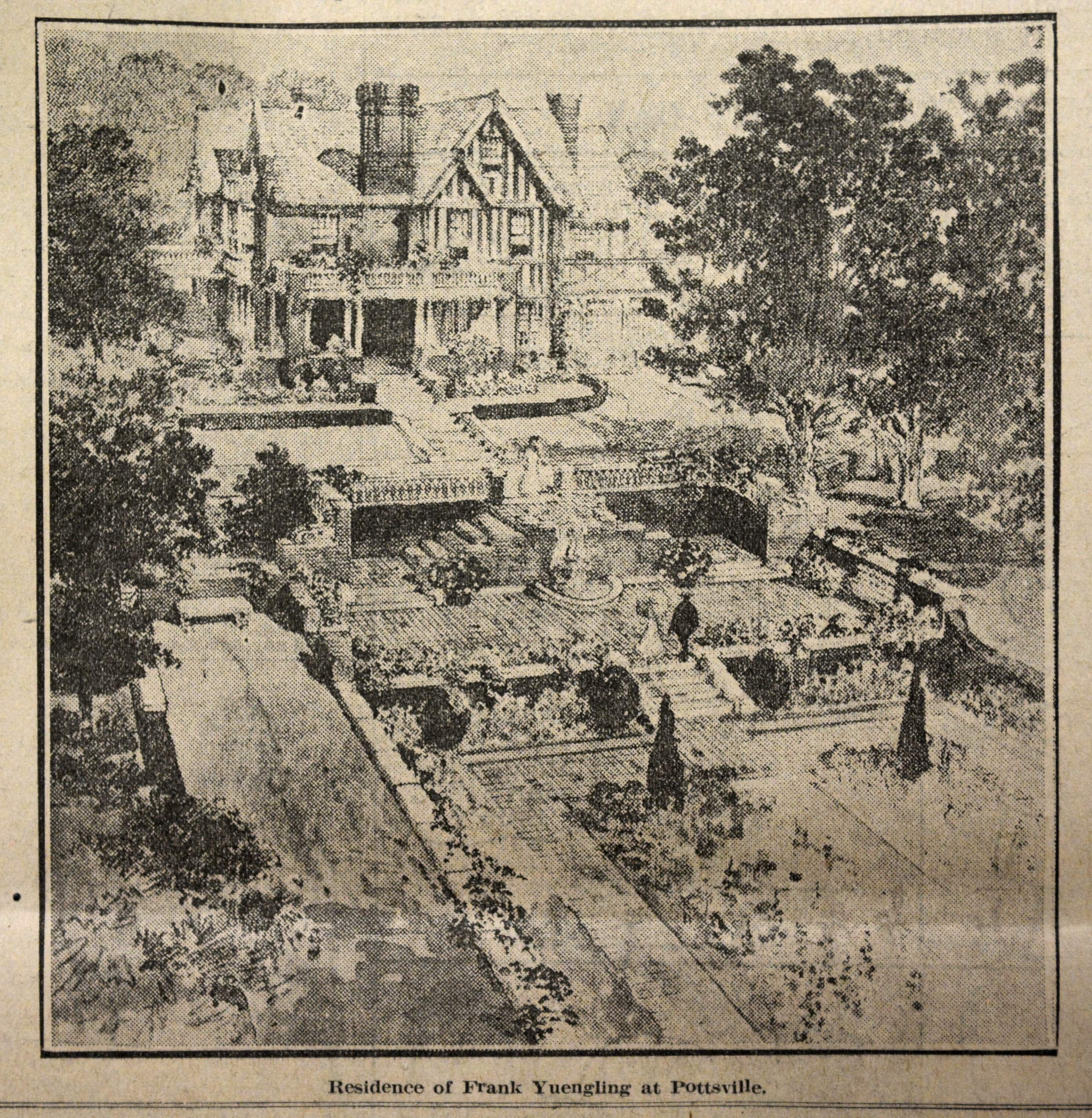 An early drawing of the mansion and gardens.