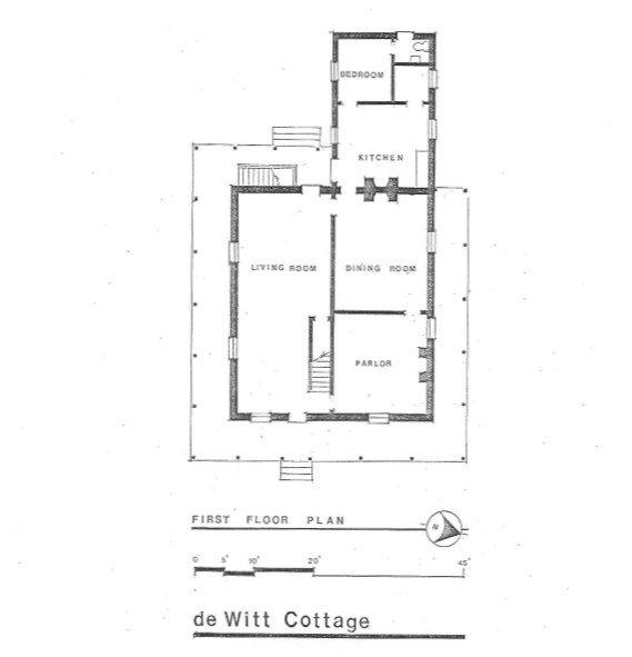 """First Floor Plan."" DHR Virginia. Retrieved from: http://www.dhr.virginia.gov/registers/Cities/VirginiaBeach/134-0066_DeWitt_Cottage_1988_Final_Nomination.pdf"
