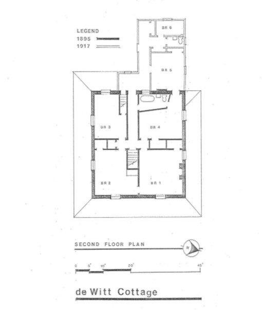 """Second Floor Plan."" DHR Virginia. Retrieved from: http://www.dhr.virginia.gov/registers/Cities/VirginiaBeach/134-0066_DeWitt_Cottage_1988_Final_Nomination.pdf"
