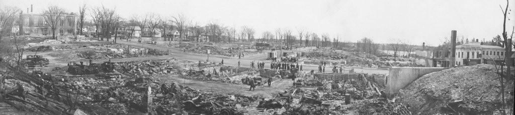 A panorama of the 1933 destruction in Ellsworth. The culprit, a dishwasher at a local restaurant, was later committed to an asylum for the criminally insane. (Ellsworth Historical Society).