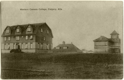 """""""Front and side view of the college with Academic building on the right. Located on 17th Avenue SW between 5A Street and College Lane. Built in 1906 – 1907."""" pc-575"""