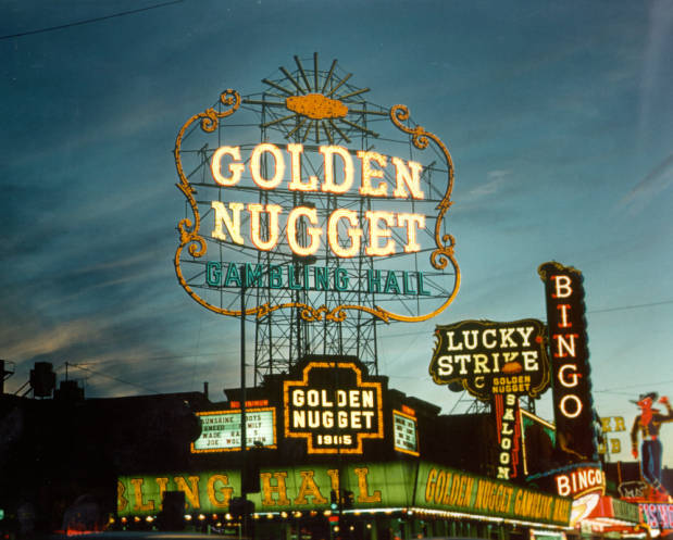 Original sign over the Golden Nugget