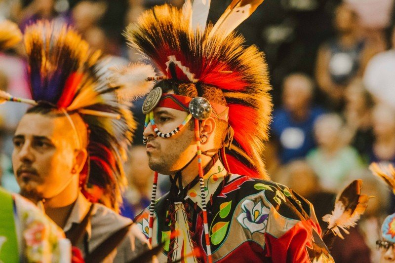 Dancers in traditional regalia at the Grand Opening, January 2018 (image from The Oklahoman)