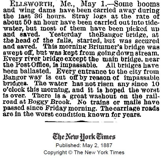 A New York Times article about the flooding from May 2, 1887. Note that the Main Street Bridge is still in operation as of this writing--it would be swept away by floodwaters less than a day later. (NY Times).