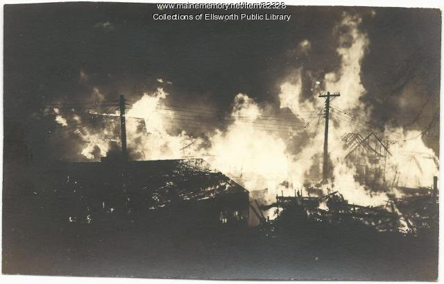The fire raged for 7 hours. Despite the efforts of hundreds of citizens, 130 buildings were destroyed, including Ellsworth's city hall. (Maine Historical Society).