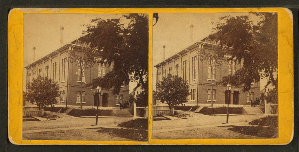 Hancock Hall, Ellsworth's city hall at the time. Citizens attempted to save it by dynamiting a nearby building to deprive the fire of fuel. Instead, burning debris was hurled into Hancock Hall, razing it to the ground.
