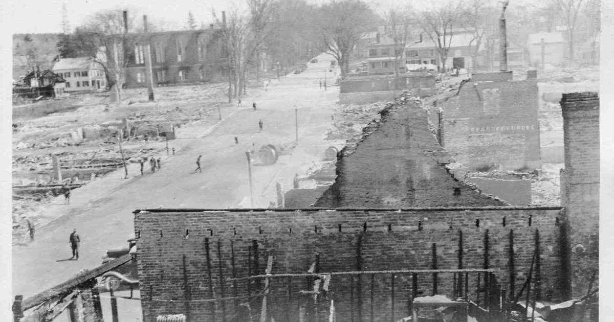 Another view of the destruction up Main Street. (Maine Historical Society).
