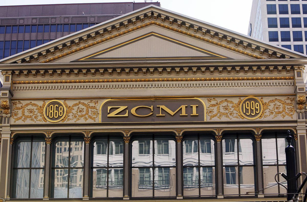 A close-up of the ZCMI logo which remains long after the cooperative was sold