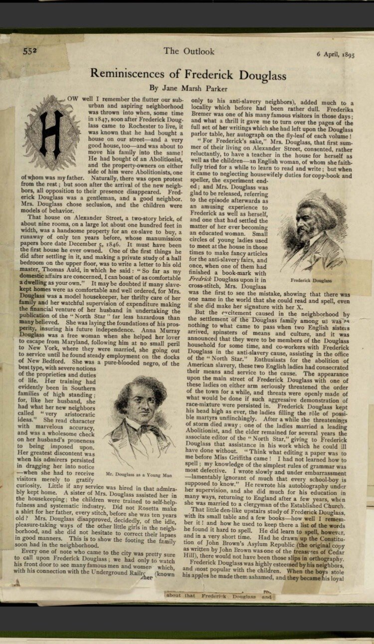 Newspaper article written in April of 1895 by Jane Marsh Parker, a friend of Frederick Douglass.