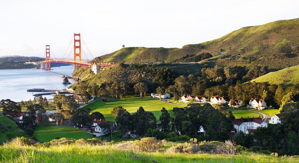 Hill view of Fort Baker and Golden Gate Bridge