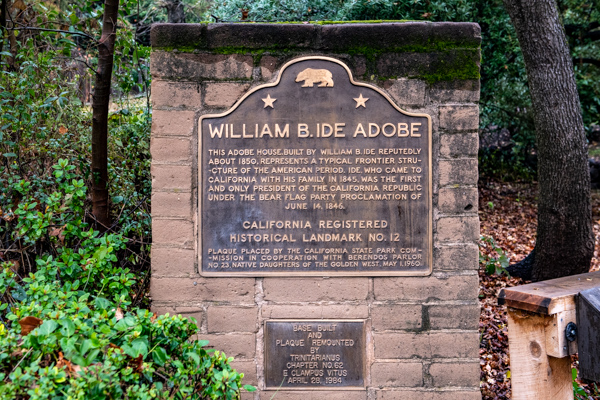 Photograph of the William B. Ide Adobe historical marker.