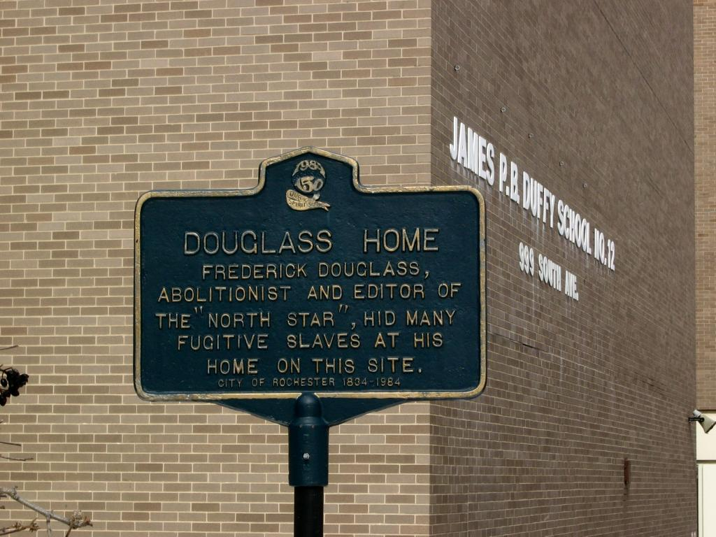 Historical marker just outside of the school honoring Douglass' memory and recognizing that his farm used to be there. http://www.freethought-trail.org/images/F8449aff3630353e.jpg