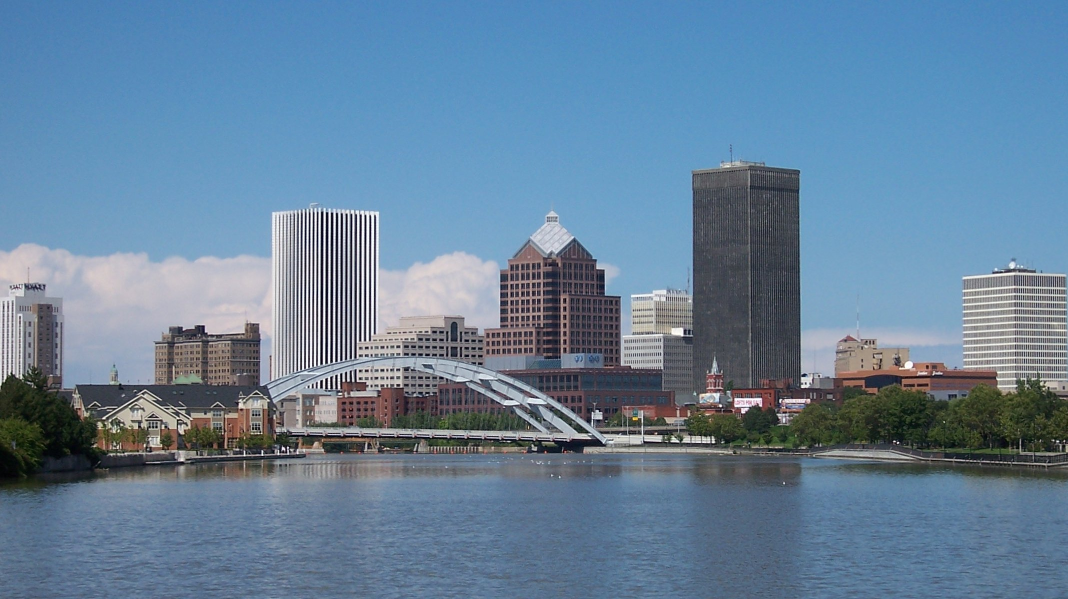 The Frederick Douglass-Susan B. Anthony Memorial Bridge takes center stage in the Rochester skyline. Picture by Theresa Marconi