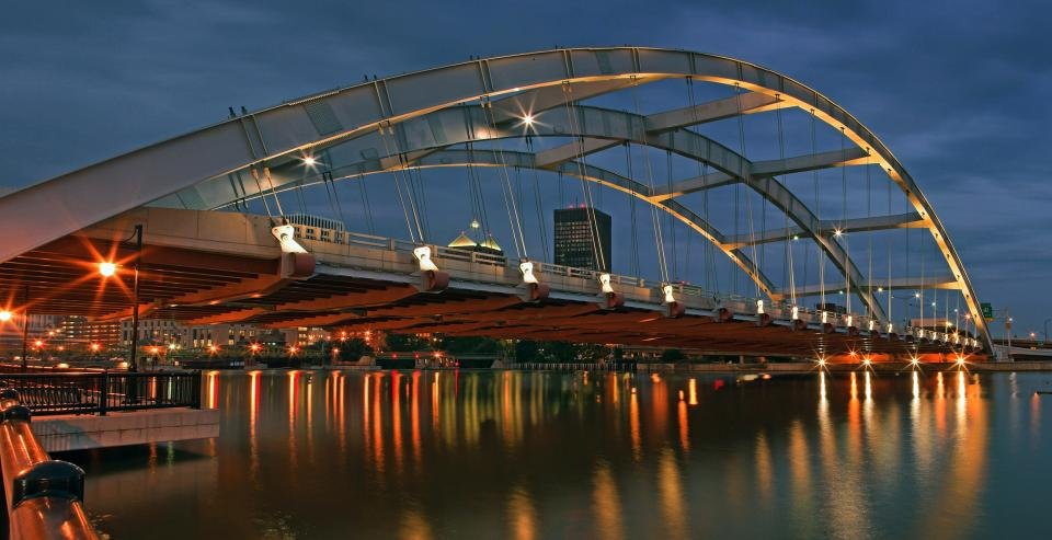 The Frederick Douglass-Susan B. Anthony Memorial Bridge lit up at night.  Picture by Carl Crumley