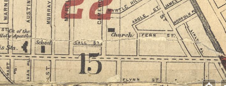 Plat Map image of the location of the church, 1900.