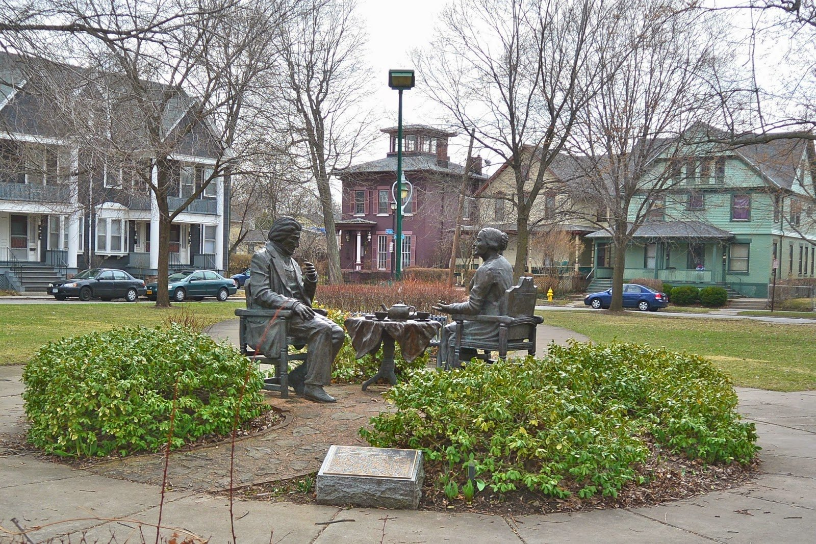 Let's Have Tea statue in the middle of the Susan B. Anthony Square Park.  Picture by Tom The Backroads Traveler