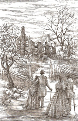 This illustration depicts Douglass coming back to Rochester to check on the state of his farm after the fire. His whole family and many of his possessions were saved.