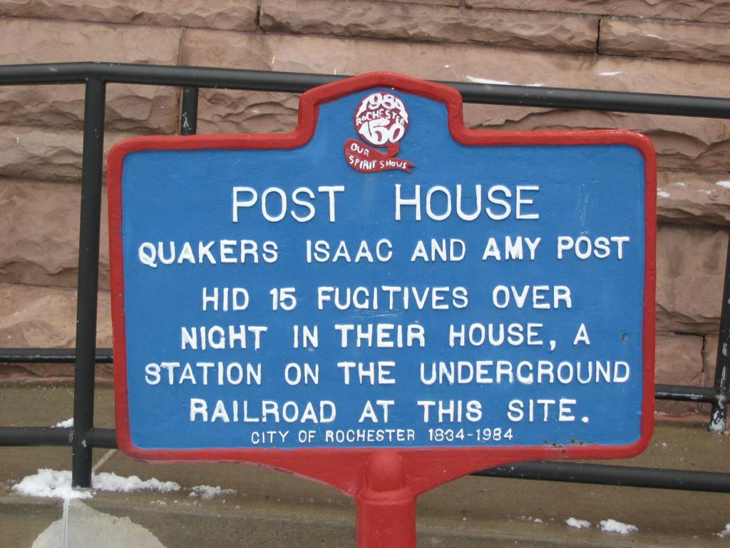 This historical marker represents the once standing Post house. The sign is located on approximately 60 Plymouth Avenue North (what was once Sophia Street), although the number of the house was 36 Sophia Street. Source: Link #4