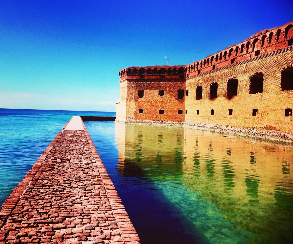 A pristine view of the waters near Fort Jefferson.