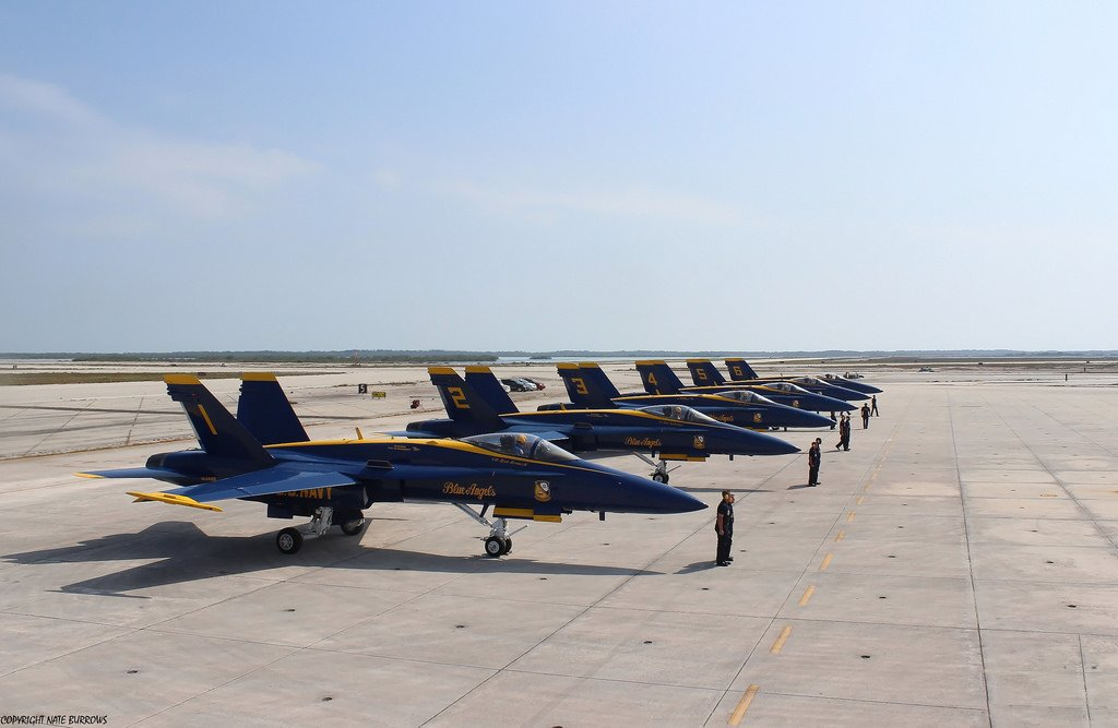 The Blue Angels at NAS Key West about to take off for a show.