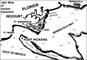 A map of Pensacola Bay, where Fort Pickens is, and where the base is in relation to the African Americans traveling to Fort Pickens from Pensacola