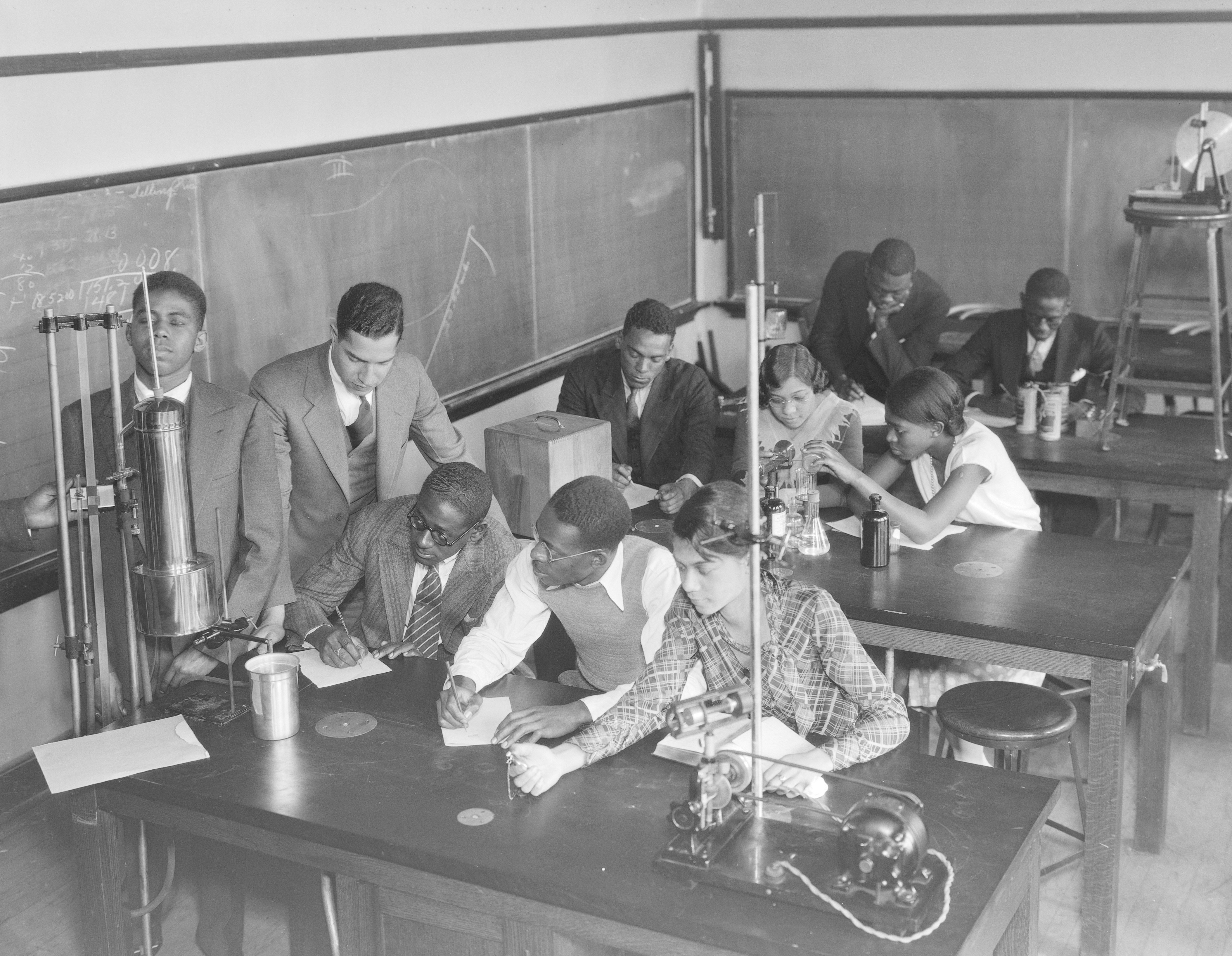 Physics students at Stowe Teachers College in The Ville working on a class project, 1931.