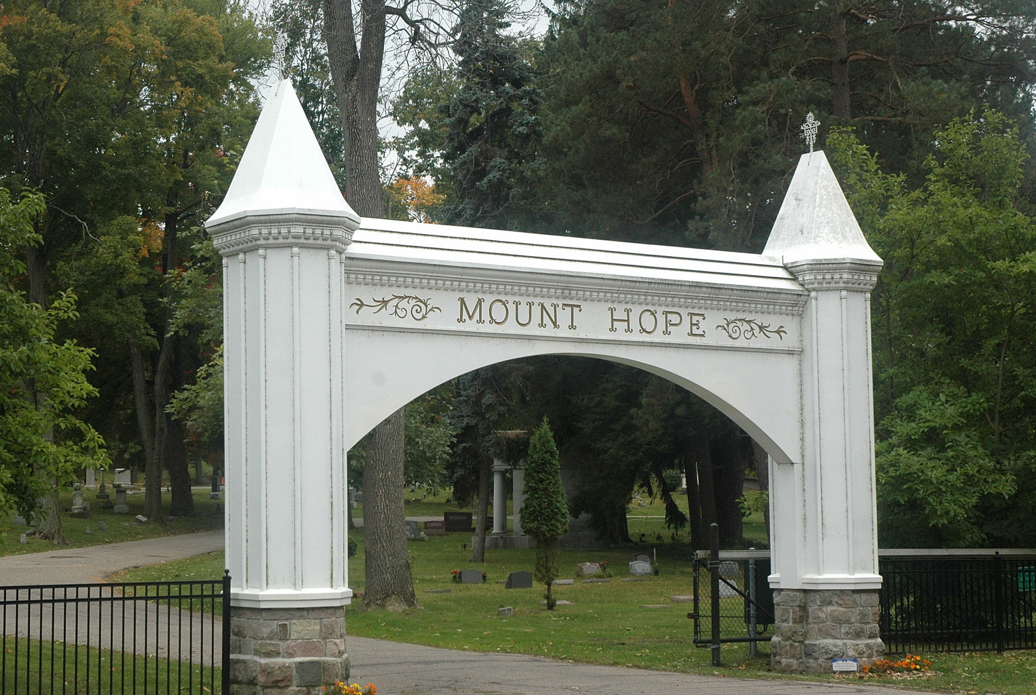 The entrance to Mount Hope Cemetary.