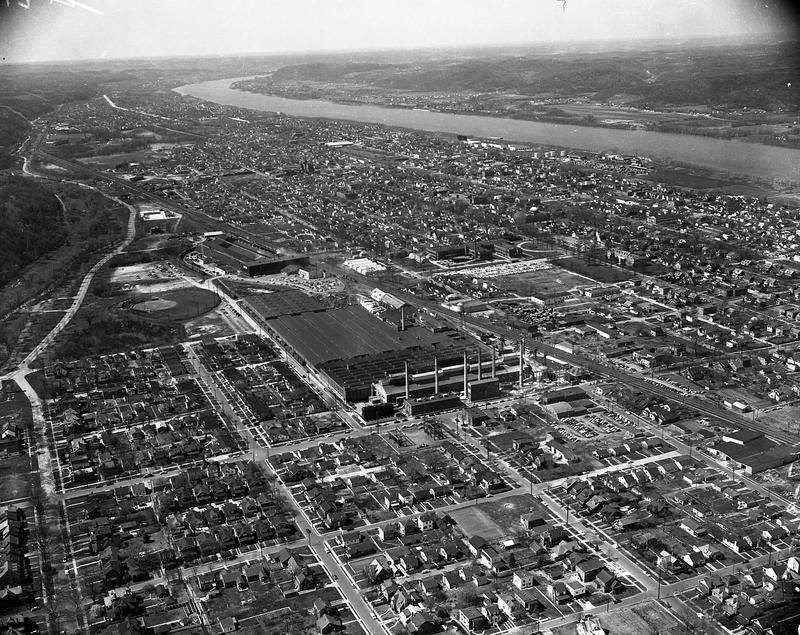 Aerial view of the factory, circa 1950s