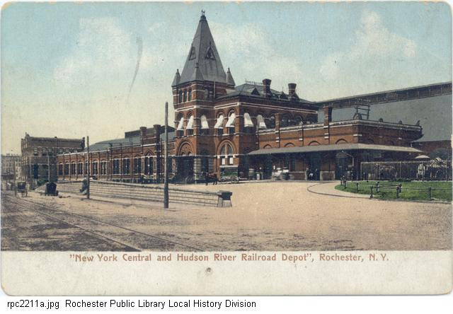 New York Central and Hudson River R.R. Depot. 1901-1913. Rochester Public Library Local History postcard collection, Rochester, N.Y. https://catalogplus.libraryweb.org/?section=resource&resourceid=1115911534&currentIndex=0&view=fullDetailsDetailsTab