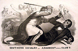 In 1856, South Carolina representative Preston Brooks attacked Charles Sumner with his cane in the Senate Chamber after Sumner gave a passionate speech in which he condemned slavery and those who supported it.
