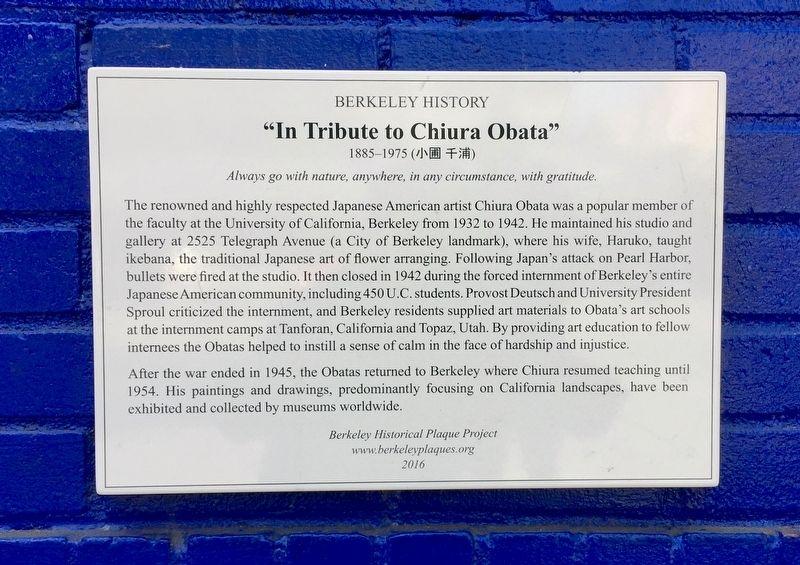 Chiura Obata Historical Marker