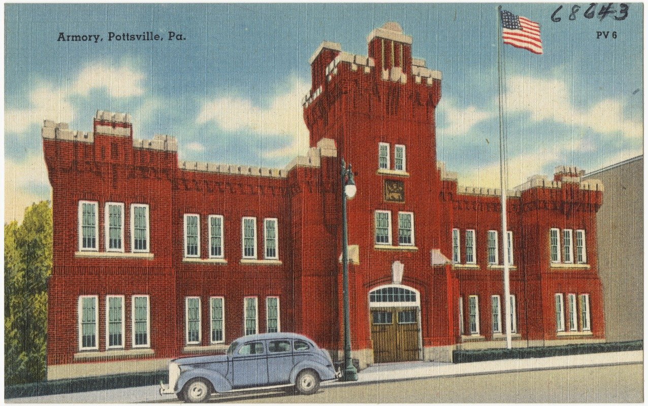 A postcard from the 1950s features the Pottsville Armory.