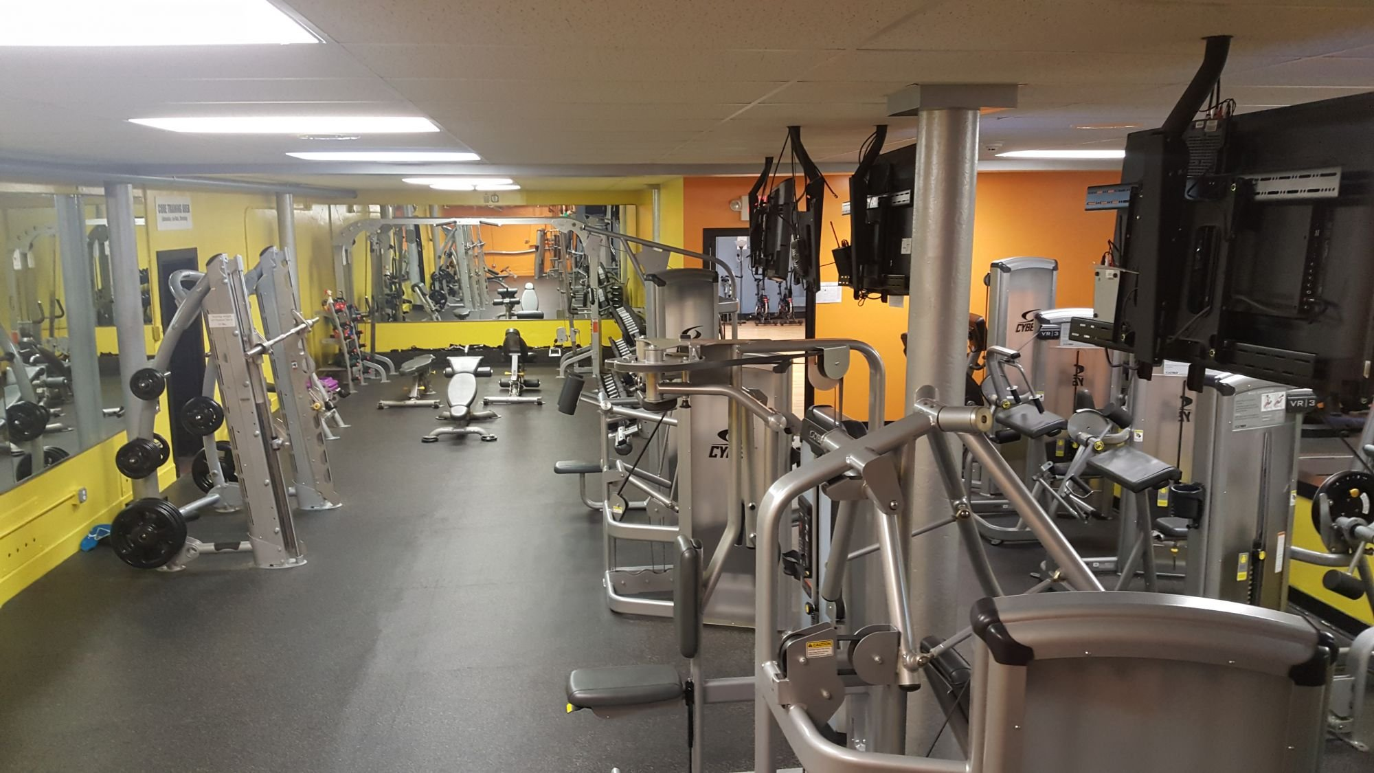 The interior of the old armory has been totally renovated as evidenced by this modern exercise room.