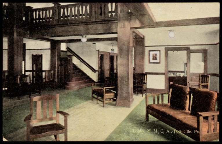The lobby of the old Pottsville YMCA.