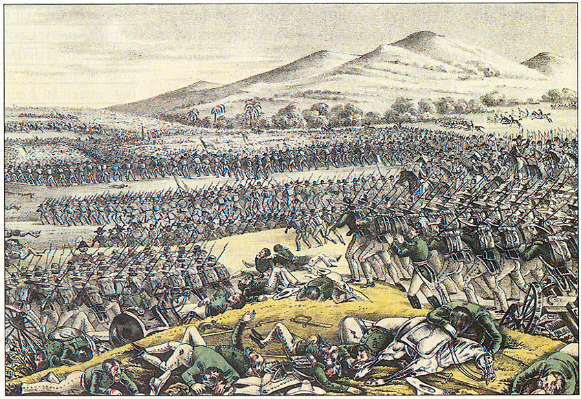 Art work that shows an image of what the battle may have looked like on that day.