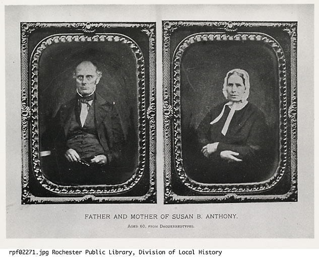 These portraits of Daniel and Lucy Anthony, the parents of Susan B. Anthony, are taken from 1854 daguerreotypes.