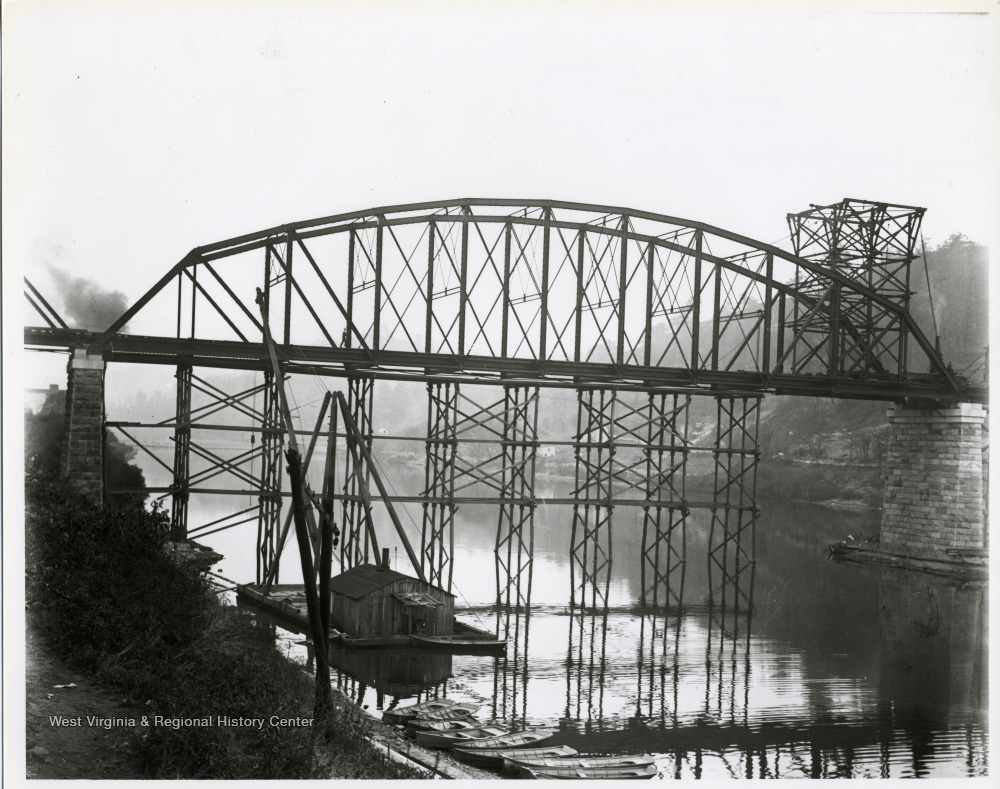 Construction on the second bridge the same year that it was completed, 1909.