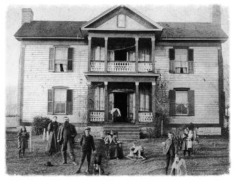 The Hoge family in front of the Sam and Mollie Hoge House (circa 1890s)