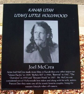 A plaque on the Little Hollywood Walk of Fame honoring actor Joel McCrea. Photo by William Fischer, Jr.