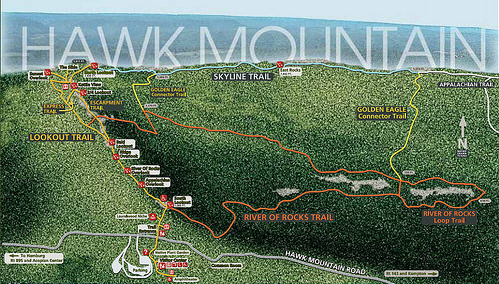Hawk Mountain Sanctuary is filled with miles of hiking trails for hikers and birders alike