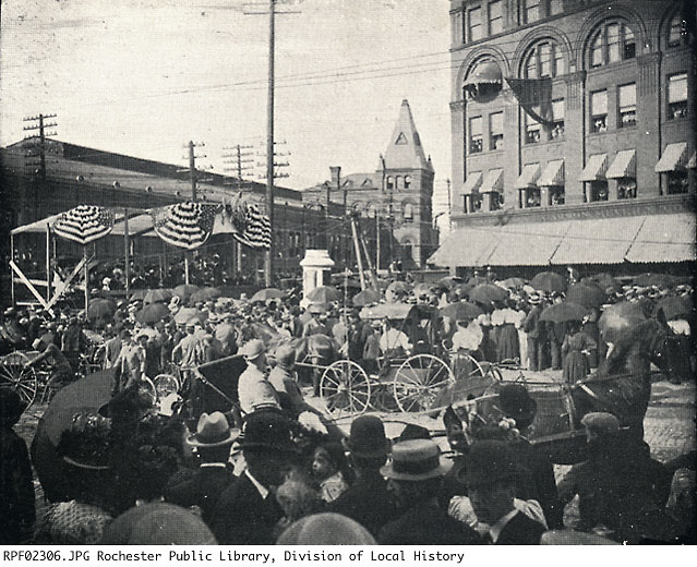 A view of the laying of the Douglass Monument cornerstone, as it took place on July 20, 1898. Image courtesy of the Central Library of Rochester and Monroe County. https://catalogplus.libraryweb.org/?section=resource&resourceid=1116807258