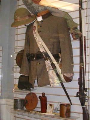 A Confederate soldier's sack coat and equipment.