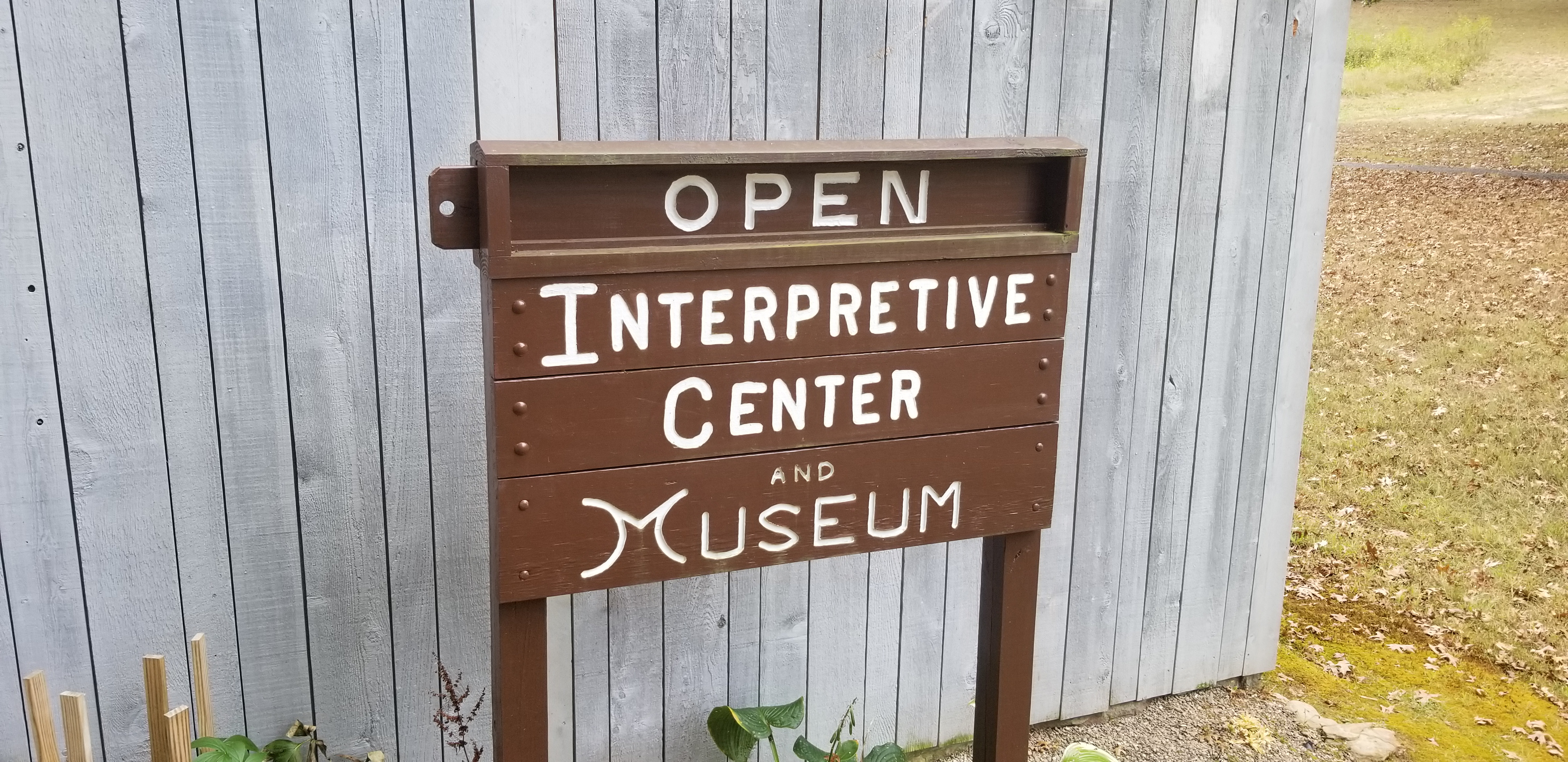 Sign in front of The Bulltown Interpretive Center and Museum Building
