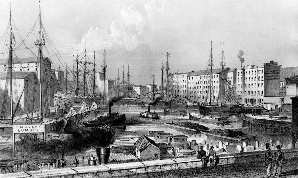 Chicago's strategic location between waterways made it one of the busiest seaports in the world during the nineteenth century. Image obtained from Classic Chicago magazine.